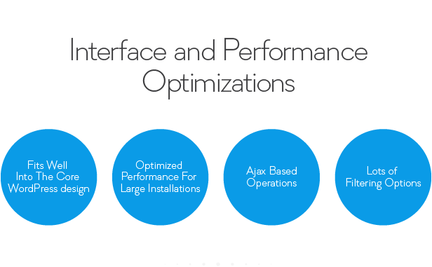 Interface and Performance ptim izations Optimized Performance For Large Installations Fits Into The Core WordPress design Ajax Based Operations Lots Filtering Options