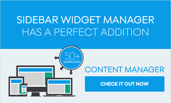 SIDEBAR WIDGET Manager具有完美的除了CONTENT MANAGER立即结账