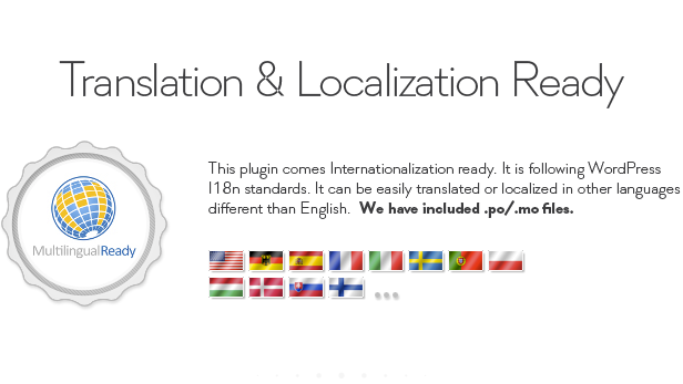 Translation Localization Ready This plugin comes Internationalization ready. following WordPress standards. can easily translated localized other languages different than English. hey. included Ales. Ready