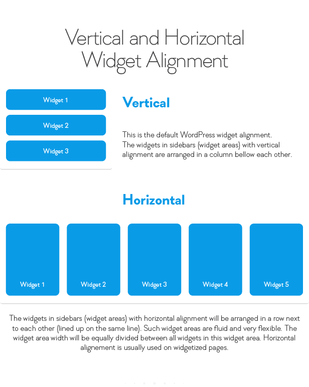 Vertical and lonzontal Widget Alignment Widget WIdget Vertical This the default WordPress widget alignment. The widgets sidebars with vertical alignment are arranged column bellow each other. Horizontal WIdget WIdget. Widget5 The widgets sidebars with horizontal alignment will arranged row next each other the same Such widget areas are fluid and very flexible. The widget area width will equally drvided between all widgets this widget area. Horizontal alignement usually used widgetized pages. Wldget4
