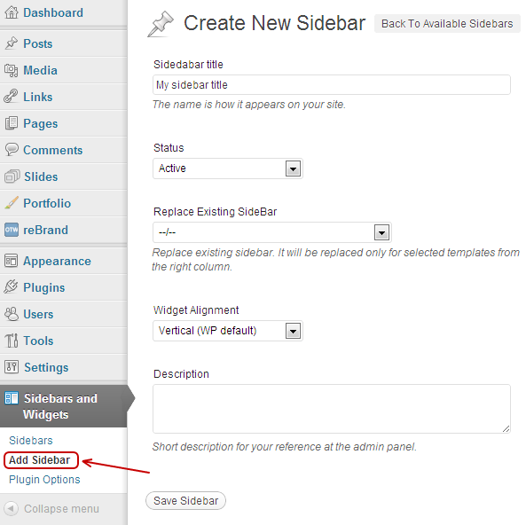 how to create sidebar in wordpress